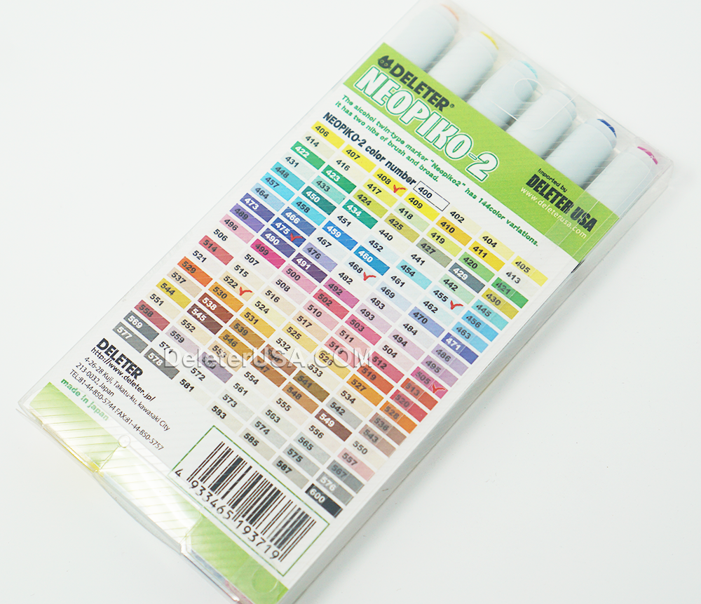 DELETER Neopiko-2 Dual-tipped Alcohol-based Marker - Basic Set