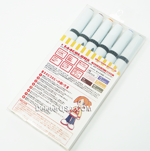 DELETER Neopiko-2 Dual-tipped Alcohol-based Marker - Neopiko Hobby 6 Color Set