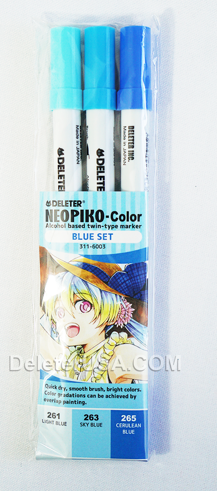 DELETER NEOPIKO-Color Blue Set Alcohol-based Dual Tipped Marker
