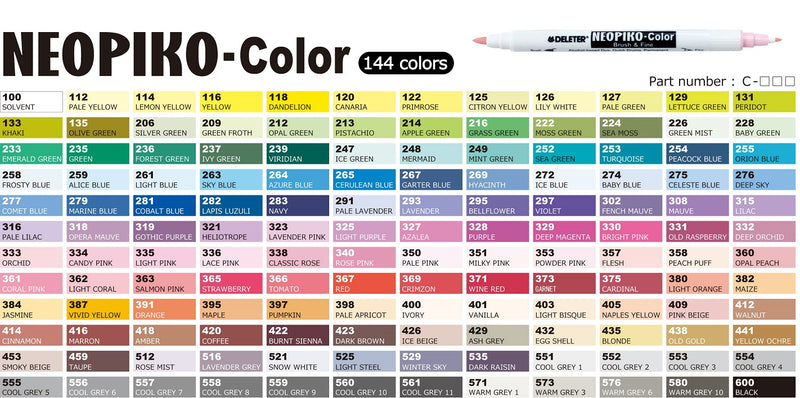 DELETER NEOPIKO-Color Cool Grey 5 (C-555) Alcohol-based Dual Tipped Marker