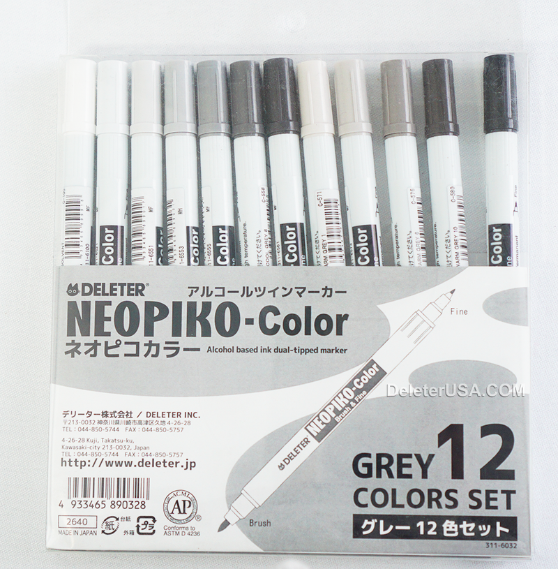 DELETER NEOPIKO-Color Grey 12 Color-Set Alcohol-based Dual Tipped Marker