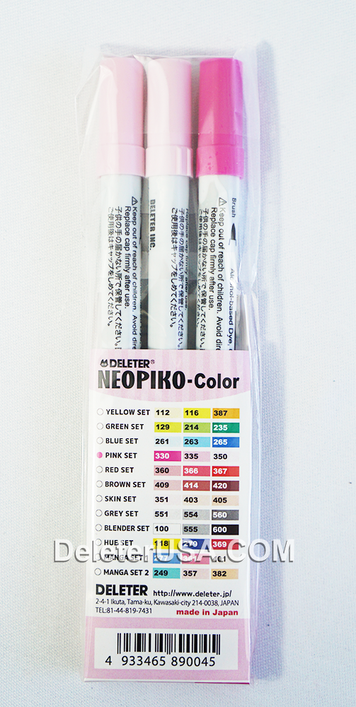 DELETER NEOPIKO-Color Pink Set Alcohol-based Dual Tipped Marker