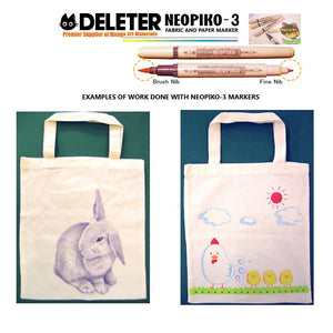 DELETER Neopiko-3 Basic 24 Colors Set Dual-tipped Water-based Fabric Marker