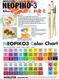 DELETER Neopiko 3 Fluorescent Yellow (A-195) Dual-tipped Water-based Fabric Marker