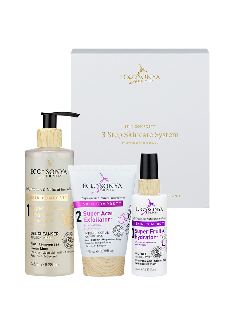 3 Step Skincare System With Acai Exfoliator Pack - EcoClique