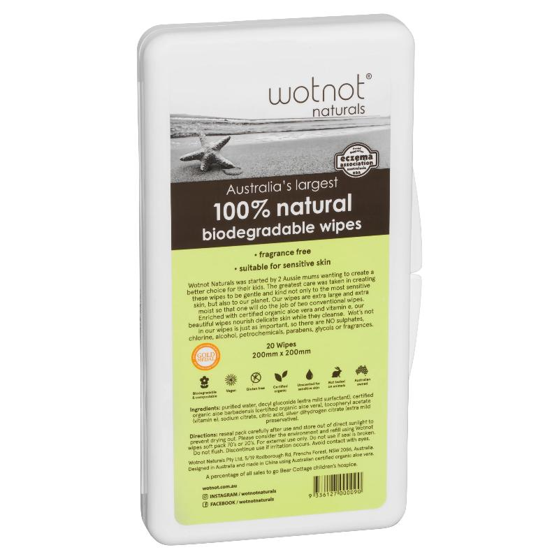 Biodegradable Natural Baby Wipes with Travel Case (20 sheets) - EcoClique