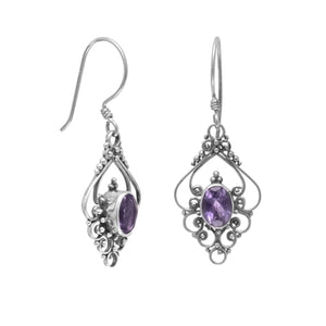 Oxidized Oval Amethyst Wire Earrings