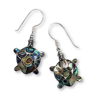 Paua Shell Turtle Earrings