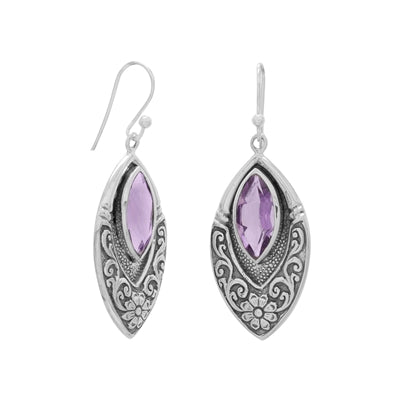 Oxidized Marquise Earrings with Amethyst