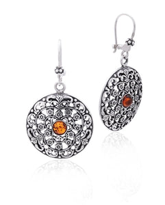 Amber Scrolled Disk Earrings
