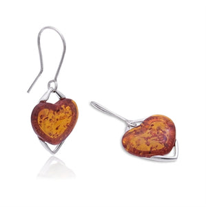 Amber Heart Earrings 1