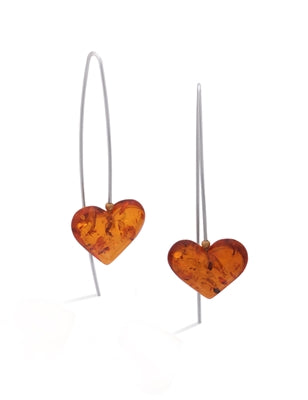 Amber Floating Heart Earrings