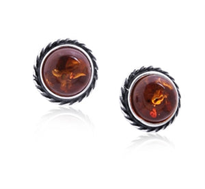 Amber Round Stud Earrings