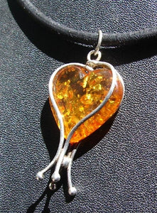 Caged Amber Heart Necklace