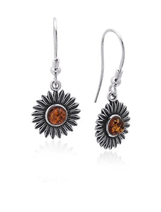 Amber Sunflower Earrings