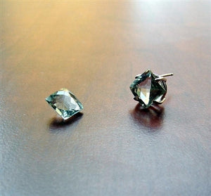 Green Amethyst Stud Earrings - Square Cut