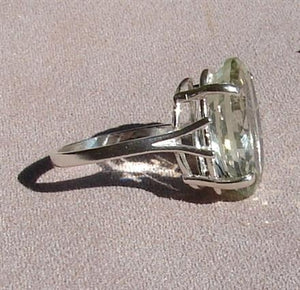 Green Amethyst Oval Cut Ring