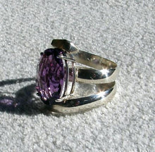 Amethyst Oval Cut Wide Band Ring