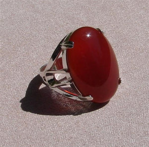 Carnelian Ring -  Large Cabochon in Sterling Silver Setting