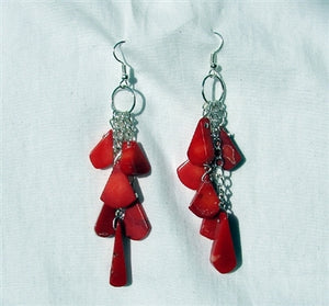 Red Coral Tears Earrings