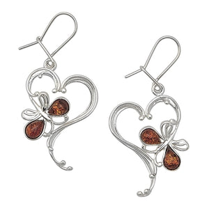 Cognac Amber Butterfly/TripleHeart Earrings
