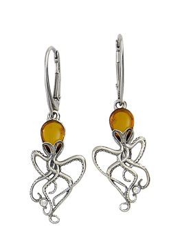 Honey Amber Octopus Earrings.
