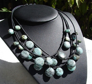 African Turquoise & Leather Necklace