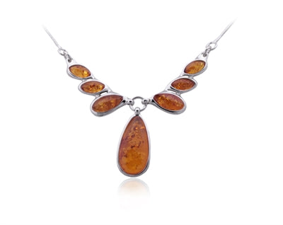 Amber Tear Drops Necklace