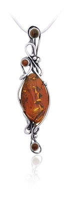 Amber Silver Work Necklace