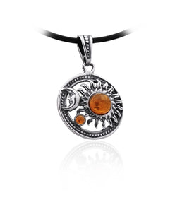 Amber Sun and Moon Necklace