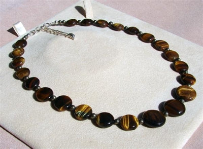 Tigers Eye  Necklace - Puffed Coins