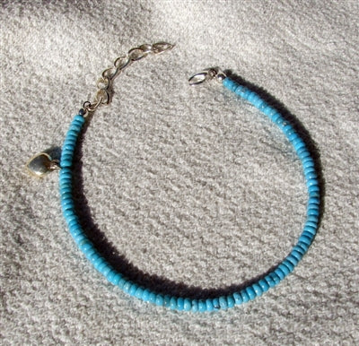 Turquoise and Silver Heart Anklet