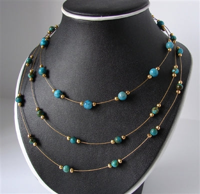 Turquoise Necklace , Three Strand