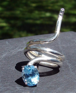 Blue Topaz Baby Snake Ring