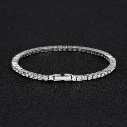 3MM Bracciale Tennis in Oro Bianco con Zirconi Iced Out - KRKC&CO