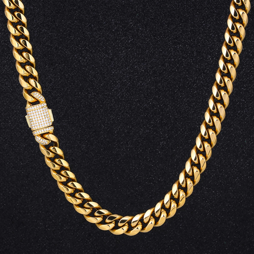12mm Iced Out Collana Cubana Acciaio in 18K Oro Placcato - KRKC&CO
