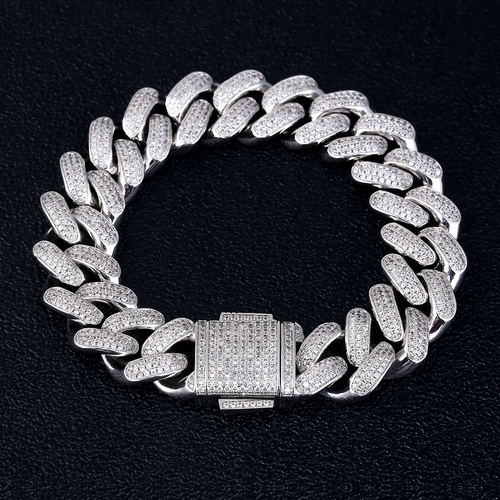 18MM Bracciale Cubano in Oro Bianco Iced Out - KRKC&CO