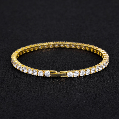 4MM 14K Oro Bracciale Tennis con Zirconi Iced Out