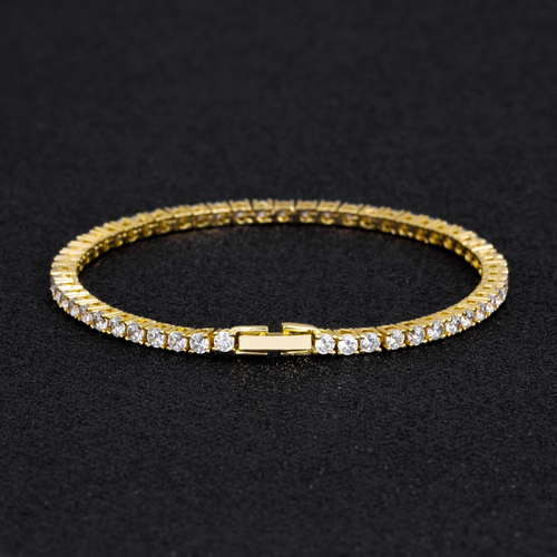 3MM 14K Oro Bracciale Tennis con Zirconi Iced Out