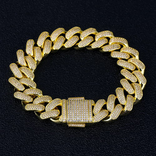 18MM Bracciale Cubano in 14K Oro Iced Out