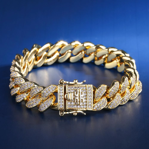 Hip Hop 12MM Bracciale Cubano Iced Out in 14k Oro