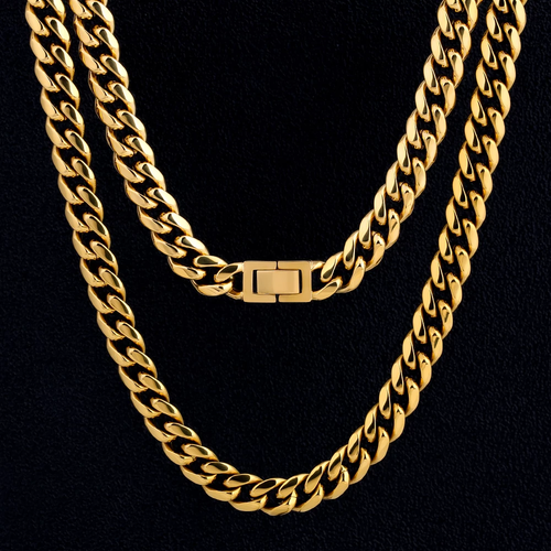 10mm Collana Cubana in 18K Oro Miami Cuban Link Chain