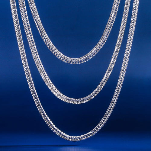 "Set: 3mm Oro Bianco Catena Franco (20 ""+22"" +24 "") - KRKC&CO"