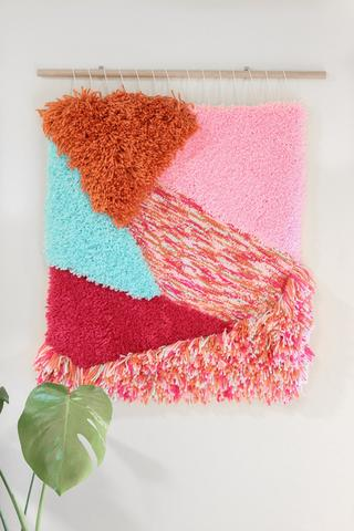 abstract wall art piece tufted by andie solar fiber artist