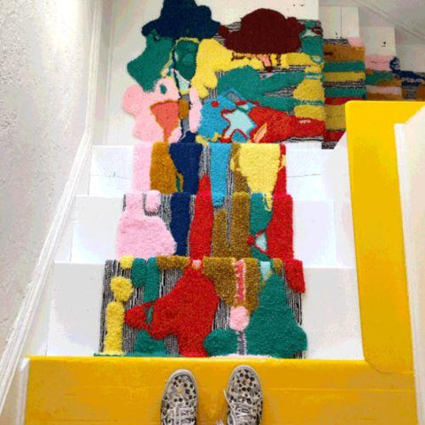 trish anderson staircase rug tufting example