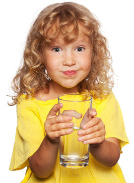 Little girl drinking healthy water