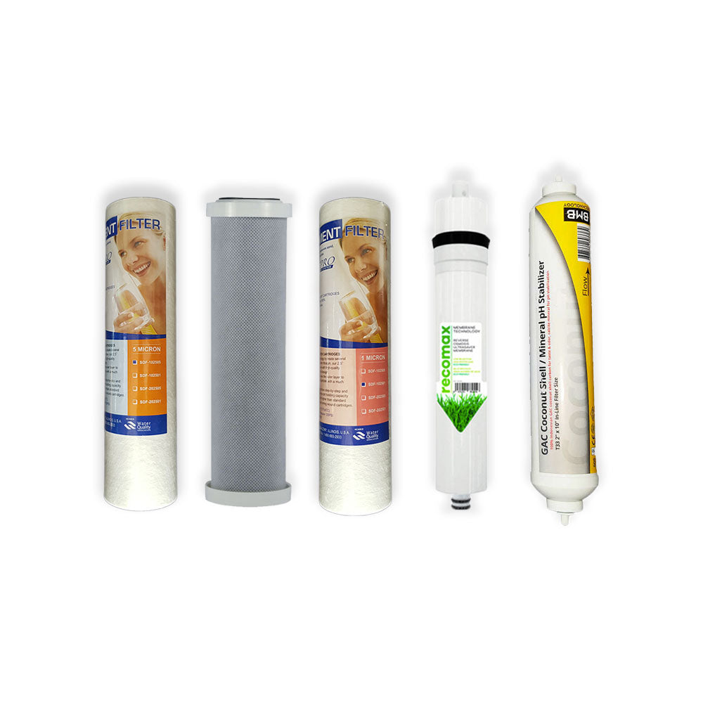 Standard Reverse Osmosis 5 Stage Replacement Water Filter Set