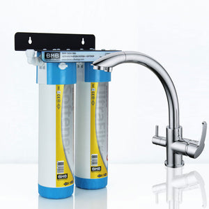BMB Zada Pro Under Sink Inline Water Filter System with Hommix Vega Chrome 3 Way Triflow Tap