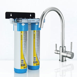 BMB Zada Pro Under Sink Inline Water Filter System with Hommix Verona Chrome 3 Way Triflow Tap