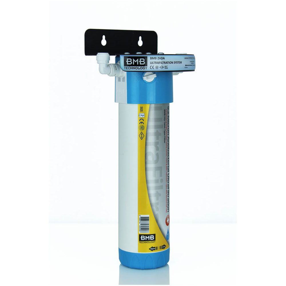 BMB Zada Under Sink Inline Water Filter System with Hommix Verona Chrome 3 Way Triflow Filter Tap